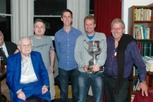 2012: (l-r) Bernard Teltscher (LMBA President) with winners: Mike Bell, Michael Byrne, Espen Erichsen and Norman Selway. (Neil Rosen and Martin Jones not shown.)