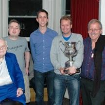 2012: (l-r) Bernard Teltscher (LMBA President) with winners: Mike Bell, Michael Byrne, Espen Erichsen and Norman Selway. (Neil Rosen and Martin Jones not shown.)