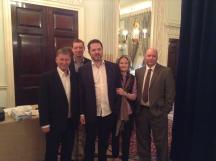 Most of the de Botton team: l-r Geir Helgemo, Tom Townsend, Thor-Erik Hoftaniska, Janet de Botton, Nick Sandqvist